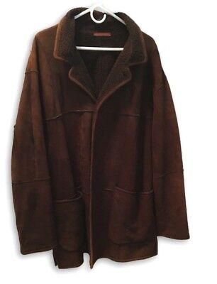 Vintage LaMatta Mens Suede Leather Jacket Brown Button Down Made In Italy 2XL