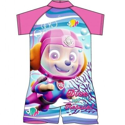"""Girls Official """"PAW Patrol"""" Sun Safe Surf-Suit Swimming Costume Size 3-4"""