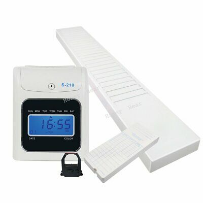 S210 Electronic Employee Time Attendance Bundy Clock Recorder Time Cards Rack