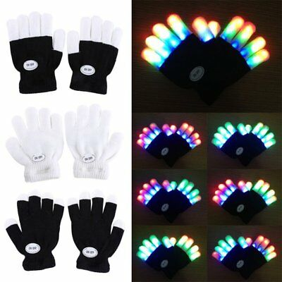 LED Rave Flashing Gloves Glow 6 Modes Light Up Finger Lighting Xmas Dance Party