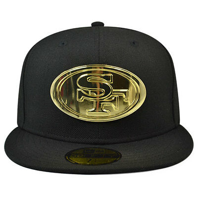 San Francisco 49ers METAL BADGE Fitted 59Fifty New Era NFL Hat - Black Gold 2c8567b60