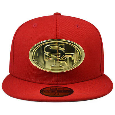San Francisco 49ers METAL BADGE Fitted 59Fifty New Era NFL Hat - Scarlet  Gold b50df3ddb