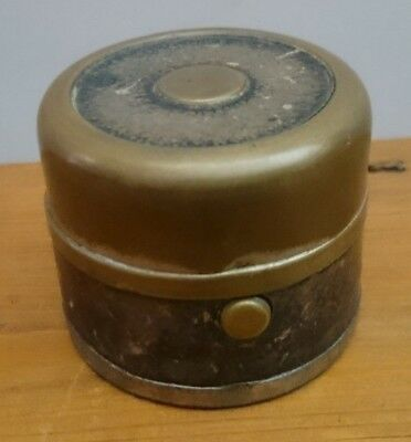 Antique Travelling Inkwell Leather & Brass with ink bottle