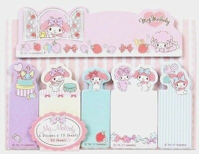 Notepad My Melody Sticky Notes Set 6 mini pads Cute Kawaii Sanrio Bookmark Posit