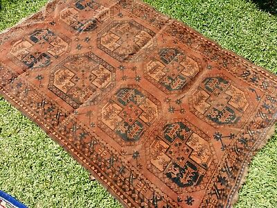Very worn vintage/antique hand-knotted Persian wool rug; FREE POST
