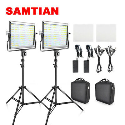 USA SAMTIAN 2pcs/Kit Bi-color LED Video Light Camera Studio Lighting Stand Set