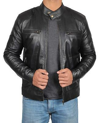 Mens Distressed Casual Fashion Real Lambskin Leather Black Motorcycle Jacket