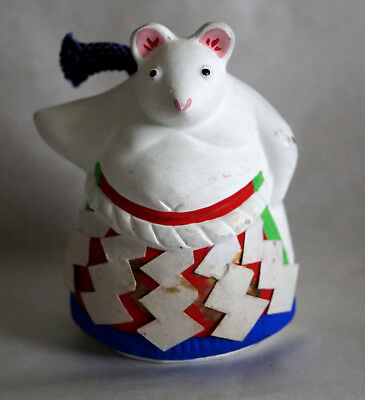 "3.5"" Japanese  Clay Bell Dorei : design  Sumo wrestler of the Mouse"