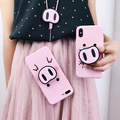 Cute Pig Case Cover Airbag Stand Holder Strap for iPhone XS Max XR 6 7 8 Plus