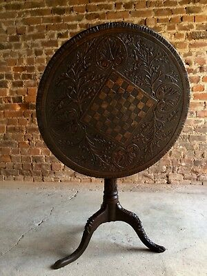 18th Century Tilt Top Table Heavily Carved Chess Board Solid English Oak C.1780