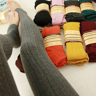 Women Winter Wool Cable Knit Sweater Footed Tights Stretch Stockings Pantyhose