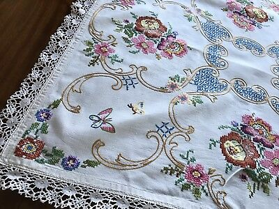 Gorgeous Vintage Hand Embroidered Heavy Cream Linen Lace Floral Tablecloth 35x37