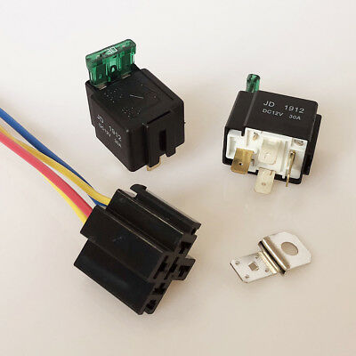 UK_ DC 12V 30A 4Pin Electronic Relay Car Automotive Fuse with Socket Accessory G
