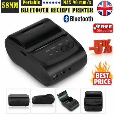 Portable 58mm 90mm/S Wireless Bluetooth Thermal Dot Receipt Printer POS + Paper
