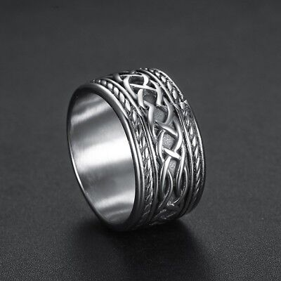 Mens Heavy Solid Silver Stainless Steel New Retro Celtic Ring Finger Band #7-15
