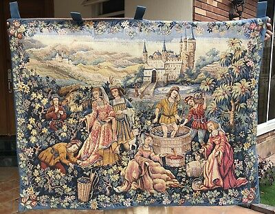 A Decorative Medieval Style French Tapestry Wine Making Scan 97 X 108 Cm