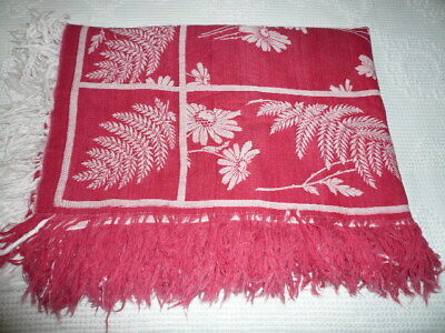 """Vintage TURKEY RED FRINGED TABLECLOTH Cotton 54 x 72"""" VG"""