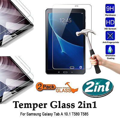 """2 X Glass HD Ultra Clear Tempered Glass Screen For Samsung Tab A 10.1"""" T580/T585"""