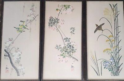 Vintage Japanese Glass Framed and Signed Block Art Prints Seasons (set of 3)
