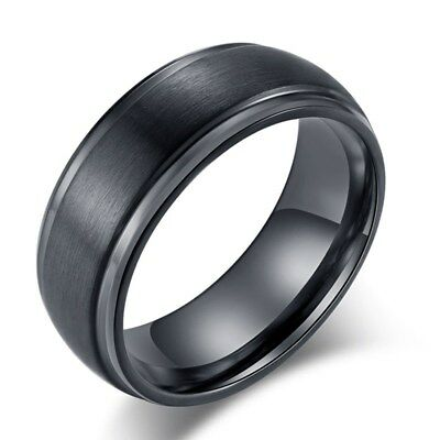 8MM Black Matte Silver Rings Wedding Bands Men's Engagement Ring Titanium Steel