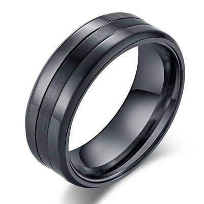 8MM Black Silver Polished+Matte Wedding Bands Men's Titanium Steel Ring Sz 7-12