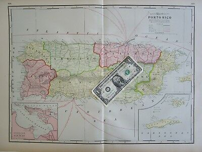 XL 1901 PUERTO RICO TERRITORY, SAN JUAN Map. or QUEBEC City, CANADA 1900s