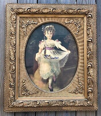 Antique Ornate Victorian Gold Heavy Wood Oval Frame Girl Print