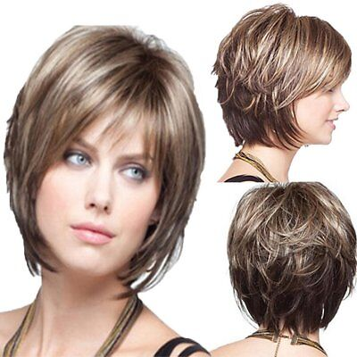White Women Synthetic Full Wigs Short Straight Bob Hairstyle Blonde Hair Wig RE