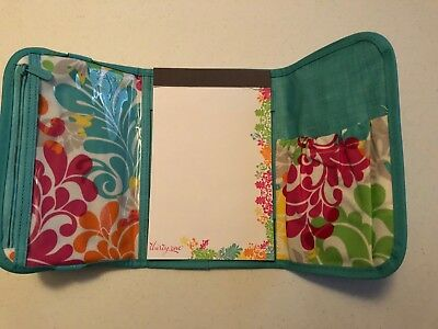 THIRTY ONE Fold & Go Organizer TURQUOISE CROSS POP  Trifold notepad teal