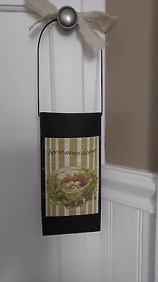 Shabby Chic Dried Flower or Flower Pot Hanging Holder Home Sweet Home, Primitive