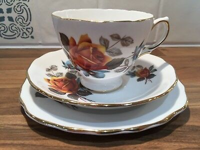 Vintage Royal Vale English bone china tea cup trio set orange floral design 8215
