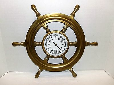 "Vintage 18 ""   Nautical Ships Wheel Wall Quartz Brass Clock"
