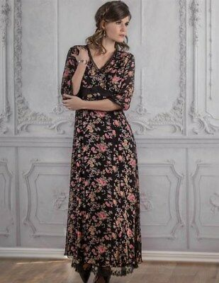 Victorian Trading Co Hopeless Romantic Guinevere Shift Black Floral Dress Large