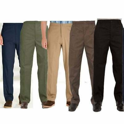 Mens Carabou New Elasticated Waist Work Casual Plain Rugby Chino Trousers BNWT