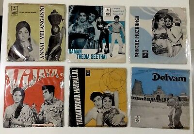 Rare Lot Of 6 Pcs OST EP Vinyl Record Bollywood Tamil India Angel & Odeon Label
