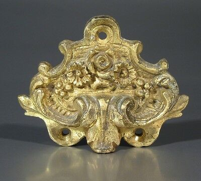 Antique French Gilded Bronze Furniture Decoration, Acanthus Leaves, Flowers