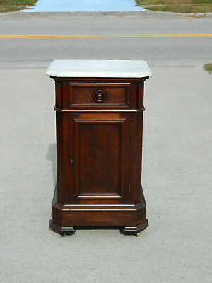 Walnut Victorian Marble Top 1/2 Commode circa 1865