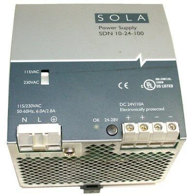 Sola Power Supply 24 Volt Dc 10 Amps Sdn 10-24-100