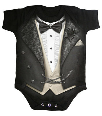 Spiral Tuxed, Baby Sleepsuit Black|Fashion|Cute|Gothic