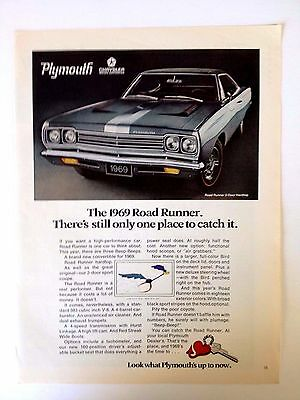 1969 Plymouth Road Runner 2 Door Hardtop Automobile Vintage Original Print Ad