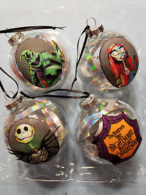 Nightmare Before Christmas 4 Glass Ornaments Iridescent Ribbon Jack Sally Oogie