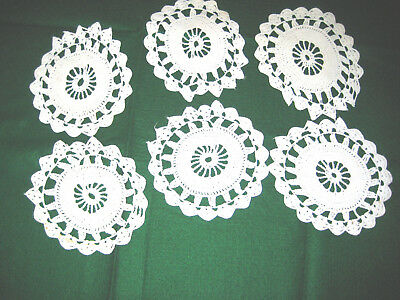 Vintage Hand-Made Crocheted Six Inch Doilies Set of Six Cotton for Crafting