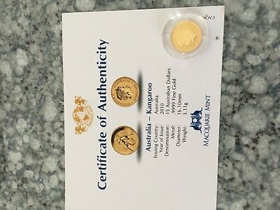 2010 Australia Kangaroo 1/10th gold coin with certificate