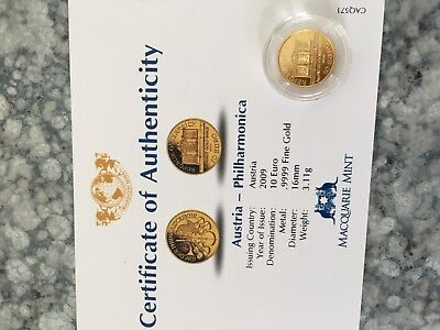 2009 Austria Philharmonica 1/10th gold coin with certificate
