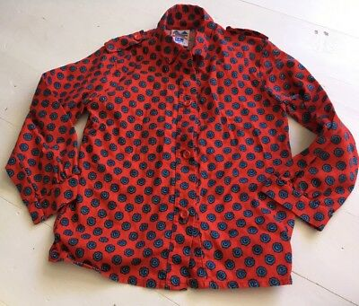 Boys 1980s Children's World True Vintage Retro Shirt Red Blue Paisley 4-5 Years