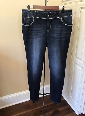Lane Bryant Slim Boot Cut Genius Fit Dark Wash Stretch Skinny Jeans ~ Women's 16