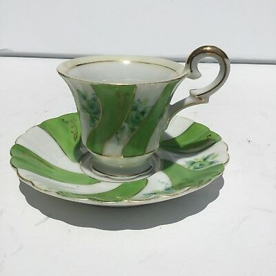 """VINTAGE UCAGCO CHINA """"OCCUPIED JAPAN"""" TEA CUP AND SAUCER SET - Green Floral"""