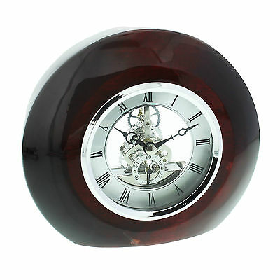 Skeleton Movement Red Wood & Chrome Mantel Clock With Piano Finish.new & Boxed.