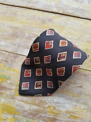 HUGO BOSS Geometric Pattern Silk Necktie Made In Italy