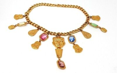 """Vintage Couture Egyptian Pharaoh Scarab Charm Gold tone Necklace 15"""""""